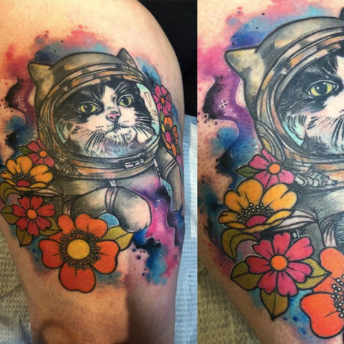 combination of realism, watercolor and solid 70s flowers for this tribute