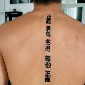 Kanji Characters down the Spine, done by Elekktra G.