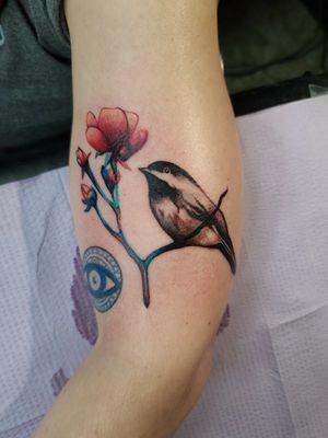 #bird #birdtattoo #colortattoo #realism #flower #cooltattoos #watercolortattoo #texasartist #fortworthartist