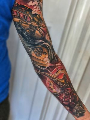 Another healed shot of sleeve that I completed before lockdown started in UK Thanks Paul for sharing! #aladdin #aladdinlamp #roulette #coloursleeve #sleeve #sleevetattoo #wandal #healedtattoo