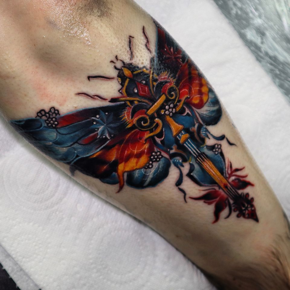 I am sure, you haven't seen moth like that before For Bradley #moth #mothtattoo #colourtattoo #neotraditional #wandal #violin