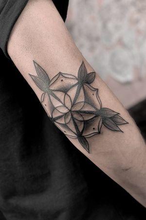 Elbow mandala tattoo by satanischepferde #elbowtattoo #mandala #mandalatattoo #blackandgrey #ornamental #neotraditional
