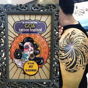 This tattoo I did at Goa International tattoo festival 1 1st place for best geometric tattoo 2019