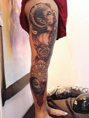 This leg sleeve tattoo has won more than 3 awards and took almost three days for me to complete this year at Bangalore tattoo convention