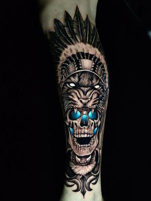 Caveira tigre tattoo