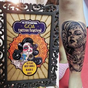Won first place for best black and grey tattoo at Goa tattoo convention 2019