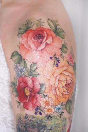 #flowertattoo #colortattoo #floraltattoo #armtattoo #shouldertattoo #koreatattoo #seoultattoo #koreatattooist #tattooartist #tattoo #tattooing #rosetattoo