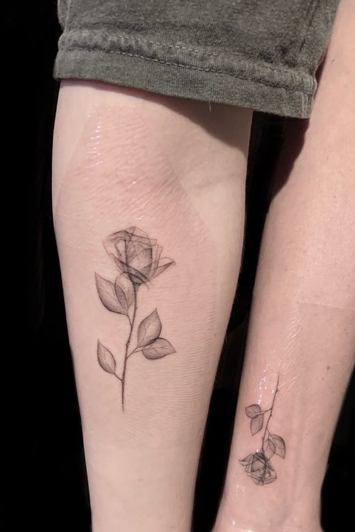 X-ray roses. Single needle. Paige Jean Tattoos.  Salt Lake City, Utah.  • Contact me on my Instagram @paigejeantattoos or text me at 805-835-2230