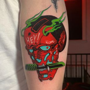 Tattoo by szabla #szabla #cyberpunk #hannya #namakubi #mashup #robot #sword #samuraisword