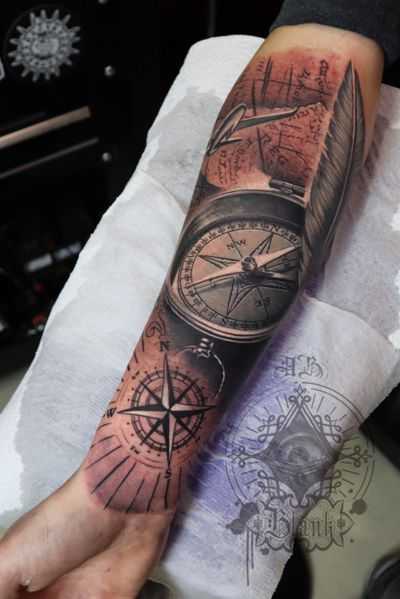 Compass feather #compass #compasstattoo #feather #feathertattoo #realistictattoo #portrait #tattooinliverpool #portraittattoo #ink #tattoos #inked #art #tattooed #tattooartist #instagood #tattooart #artist #photooftheday #drawing #inkedup #tattoolife #style #like4like #design #bodyart #instatattoo #tattooculture #black #tat #sketch