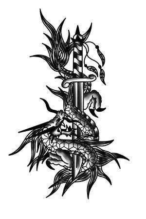 #drawing #tattoo #inked #ink #flashtattoo #tattooflash #paris #barcelona #bcn #paristattoo #sketchtattoo #sketch #tatouage #perso #charactersketch #france #dessin #blackwork #black #paint #bw #tattoo #tattoos #dagger #dragon