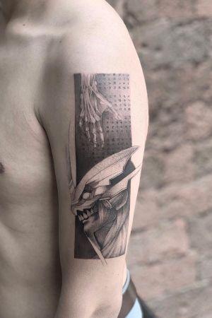 Reinterpretation ⚡️[Unit 01] #evangelion 🤍 . . . . . . Appointments/citas: anibalbookigs@gmail.com . . . . . . . . . . . #art #fineart #sketch #blackworkershero #blackworkerssubmission #instasrt #artwork #artesobscurae #bangbang #tattooinkspiration #tattoo #arts #TATTOOTODO #anibal_tattoo #tattooartist #blxink #stabmegod #dotstattoo #tattoodo