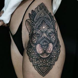 geometric lioness tattoo by ash boss #ashboss #geometric #mandala #cat #lioness #linework #pattern #ornamental #sacredgeometry