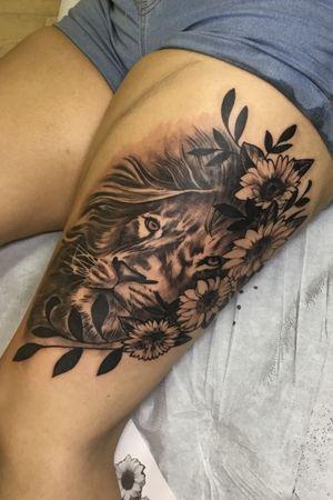 Lion and leaf Tattoo session-@kintoz
