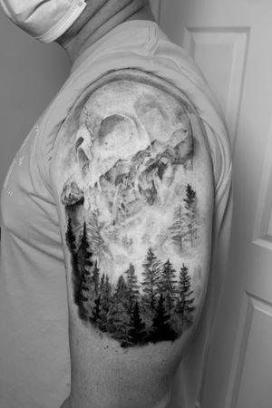 Instagram: @rusty_hst Skull in mountains custom piece #blackandgrey #skull #realism #blackandgreyrealism