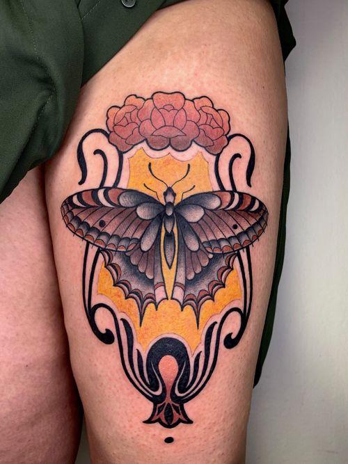 butterfly tattoo by gaialemil #gaialemil #butterfly #artnouveau #neotraditional #pattern #flowers #rose