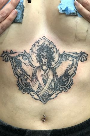 #Fineline #singleneedle #Medusa #sternum #ornamental #Tattoodo #medusatattoo