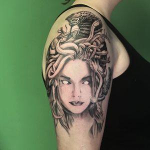 Finished this medusa last week! So good to be back! 🐍 . . . . . . #art #blackandgrey #blackandgreytattoo #greekmythology #medusatattoo #tattoodesign #dayliart #medusa #snakes #sketchyrealism #artsy #cobratattoo #artdaily #tattooflash #shouldertattoo #customtattoo #medusadrawing #scarytattoo #guiartwork #bodyart #tattooart #instaart #onlyblackart #btattooing #tatts #tattoos #artwork #tattoodo #creepytattoos #darkartists