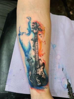 #watercolortattoo #cooltattoos #fortworthartist #bass #guitar #slappinthebass
