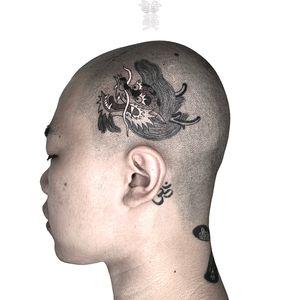 Dragon tattoo by Omiza #Omiza #dragon #scalp #head #dragonhead #japanese