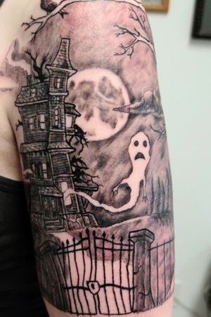 Start of a haunted house  1/2 sleeve. More to come.