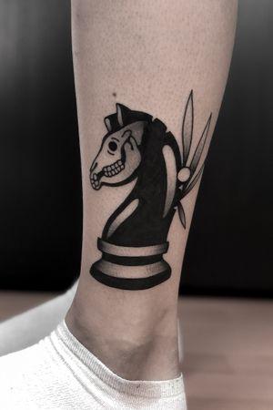 Dark undead chess horse by satanischepferde #erfurt #satanischepferde #black #blackwork #traditional #dark #darkartist #horse #chess #games #skull #small #minimalistic