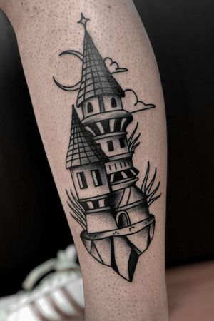 traditional castle tattoo by satanischepferde #blackwork #blacktraditional #oldschool #bold #blackandgrey #erfurt #satanischepferde #dark #darkart #castle #tower #legtattoo