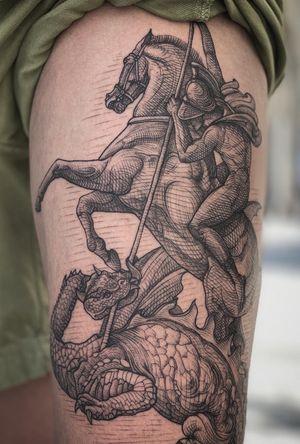 Saint George #engraving #tattoo #linework #blackwork #tattoo