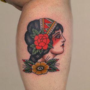 Traditional lady head tattoo by Andrea Furci #AndreaFurci #traditional #ladyhead #portrait #rose #flower #lady