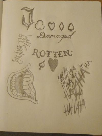 Tattoo designs drawn and ready to be inked #SuicideSquad #tattooartist #inkedup #misfittattoos #rotten #jokertattoo #hahahaha
