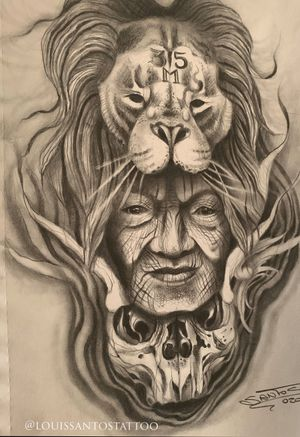 Nothing is forever, sketch of the day. Lion, old woman and skull