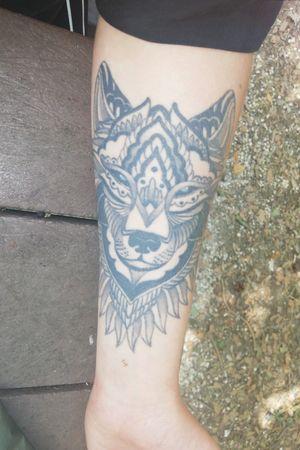 #wolf #wild #linestattoo #blue #blackandgreytattoo