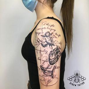 Literature 1984 Tattoo by Kirstie @ KTREW Tattoo - Birmingham, UK #blackwork #literaturetattoo #halfsleevetattoo #birmingham