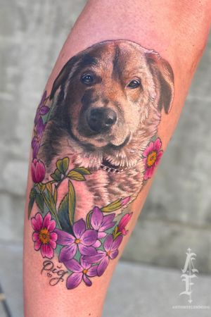 Dog tattoo by Antony Flemming #dogtattoo #dog #flowers