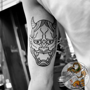 A Custom Line-work Japanese Hannya Mask for Kjell. Thank for letting me doing my design again on your skin.  We are as Tattoo Artist always so happy when we can freely drawing based on our imagination  I'll see you again on the next project.  If you like this kind of Line-work Tattoo.  Send me a DM for appointment or consultation.  . . . . .  #hendjerin #masktattoo #tattoo #kayontattooatelier #hannyatattoo #tattoodo #vegantattooink #lineworktattoo  #japanesetattoo #asiantattoo #cleanlinestattoo