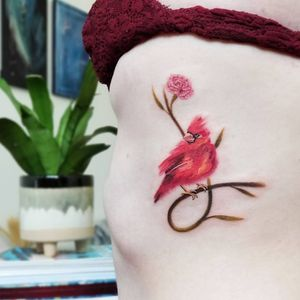 Cardinal and Carnation done in an abstracted brush stroke style. #watercolortattoo #brushstroketattoo #birdtattoo