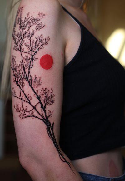 tattoo by Konstantin aka strokinwork #Konstantin #strokinwork #branch #sun #tree #nature #plant