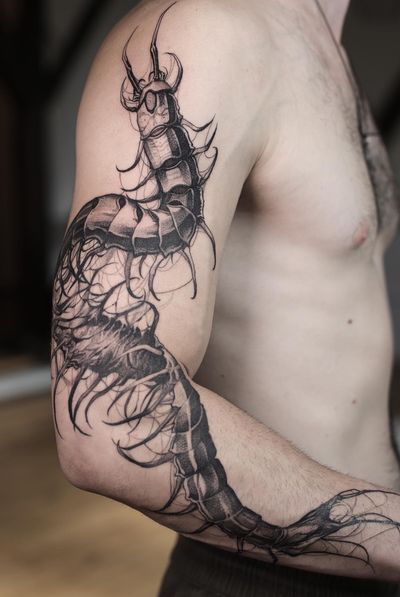 tattoo by Konstantin aka strokinwork #Konstantin #strokinwork #bug #insect #centipede #surreal #darkart