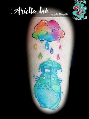 Totoro with rainbow cloud #tattoo #tattoos #freshink #freshlyinked #watercolor #watercolortattoo #aquarell #aquarelltattoo #totoro #totorotattoo #totorostuff #rainbow #cloud #cute #anime #manga #nerd #otaku #studioghibli #ghibli #ghiblitattoo