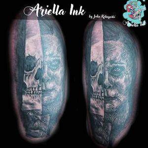 Michael myers tattoo #tattoo #tattoos #freshink #freshlyinked #blackandgreytattoo #blackandgrey #realistic #realistictattoo #skull #skulltattoo #deathtattoo #michaelmyers #michaelmyerstattoo #michaelmyersmask #halloween #halloweentattoo #halloweenfilm #halloweenmovie #horror #horrortattoo #darkart