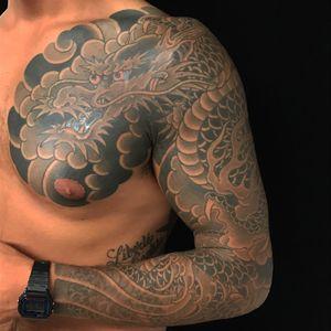 B&G Ryu (dragon) full sleeve with chest panel finished 龍 十分かいな 墨ぼかしのみ 完成