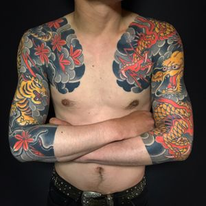 Tiger and dragon 3/4sleeve with chest panel 龍虎 七分両かいな