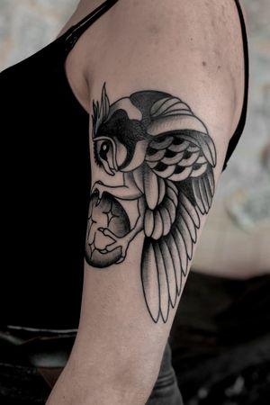 Traditional owl tattoo by satanischepferde #owl #owltattoo #armtattoo #blackwork #whipshades #black #blackandgrey #erfurt #traditional #bold #traditionaltattoo #dark