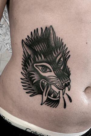Oldschool traditional wolf tattoo by satanischepferde #wolf #wolftattoo #animal #traditional #oldschool #dark #black #blacktraditional #weird #trippy #bold