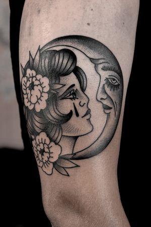 Oldschool woman and moon tattoo by satanischepferde #oldschool #blackandgrey #woman #moon #lady #peony #flower #dark #erfurt #traditional #neotraditional