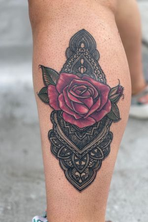 Healed black fresh color on rose mandala tattoo henna rose floral flower Check out my instagram for @theelvastefanie
