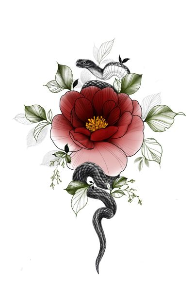 #tattoodesign #snaketattoo #flowertattoo #floraltattoo #darktattoo #drawing #lineworktattoo #blackwork #blackworktattoo #snakedesign
