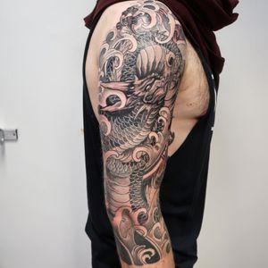 Dragon and chrysanthemum in Progress #tattoo #dragontattoo #leeds #tattooist #japanesetattoo