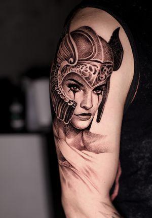 Portrait tattoo by Anna Chernova #AnnaChernova #portrait #realism #valkyrie #blackandgrey #helmet #warrior #goddess