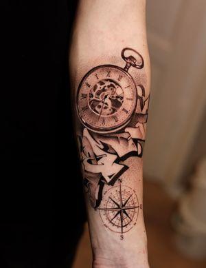 tattoo by Anna Chernova #AnnaChernova #clock #watch #graffiti #compass #fineline #dotwork #blackandgrey #illustrative #time